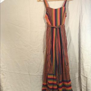 Lucca Couture striped romper with belt. Lined S